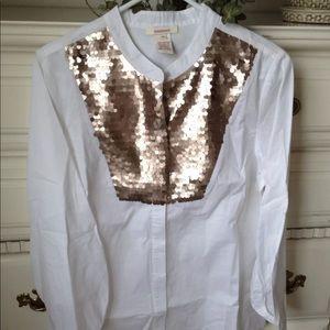 Sundance Catalog $118 sequin embellished blouse M
